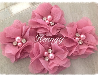 """4 Stk. Aubrey MAUVE PINK - 2"""" weiches Chiffon mit Perlen und Strass Mesh Layered kleine Stoff Blumen, Haarschmuck"""
