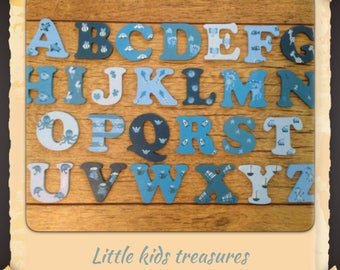 4cm WOODEN PAINTED ALPHABET Letters blues / boys individually hand painted childrens projects 4cm- Little Kids Treasures
