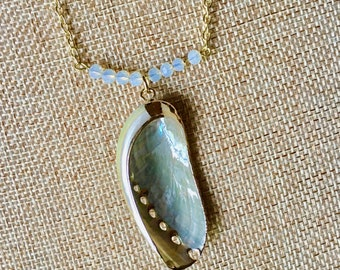 Moonstone Abalone Necklace Chain with Shell Pendant by RICHARME