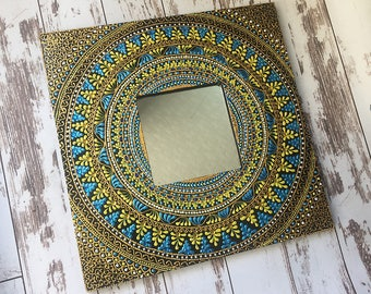 unique wall mirror, small mirror, wood frame mirror, hanging mirror, handmade mirror, living room mirror, decorative mirror, framed mirror