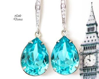 Blue Earrings Turquoise Earrings Teal Blue Earrings Swarovski Earring Bridesmaid Gift Bridesmaid Earrings Bridal Earrings Gift for Her TQ31H
