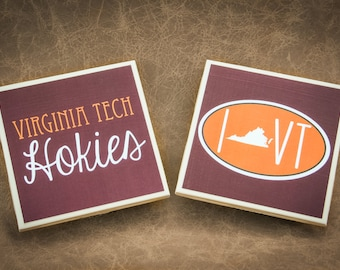 4 Virginia Tech Hokies Coasters