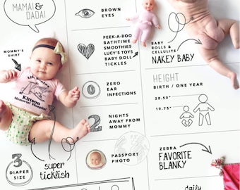 LARGE custom designed one year baby infographic, digital file