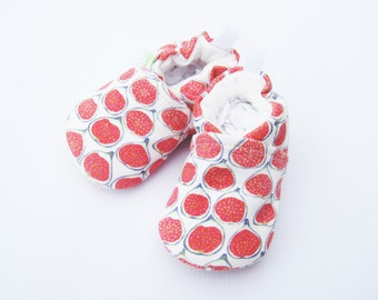 Sale Small Organic Knits Vegan Little Fig / All Fabric Soft Sole Baby Shoes / Ready to Ship
