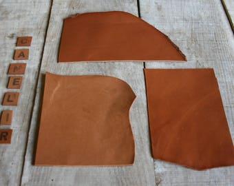 set of 3 CAMEL leather scraps