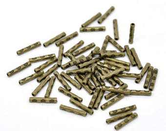 10 bronze 14X2mm spacer tube beads