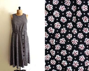 vintage dress 90's black floral print maxi 1990s womens clothing grunge size large l