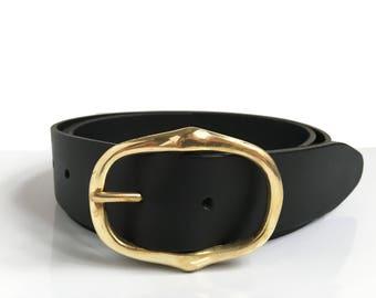 "Black Leather Belt With Gold Buckle - 1"" 1/2 - Brass Belt - Handmade Belt - Womens Belt - Black Belt - Brass Buckle - Leather Belt"