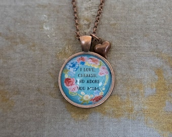 Mothers Day Necklace, Mothers Day Jewelry, Gift for Mom, Mom Pendant, Mom Necklace, Mom Gift, Inspirational Jewelry, Floral Jewelry, Pendant