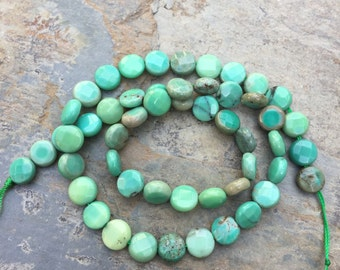 Green Moss Opal Coin Beads Green Moss Opal Disk Beads, Faceted, 8mm, 16 inch strand