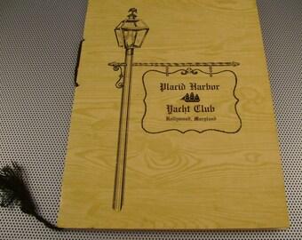 Vintage Placid Harbor Yacht Club Hollywood Maryland Fold out Menu