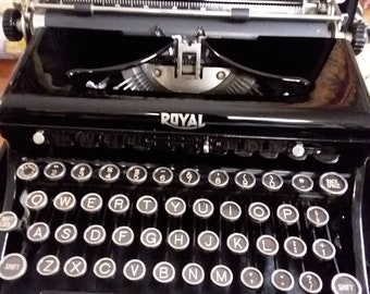 1930's Royal Touch Control Typewriter with Glass Keys