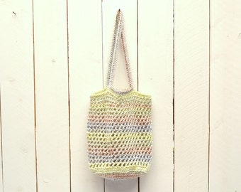 Crochet Tote Bag Market Tote Shopping Bag Double Strap Open Weave Rainbow Striped Bag