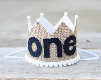 Boys 1st Birthday Burlap Crown - Cake Smash First Birthday Crown - Woodland Birthday
