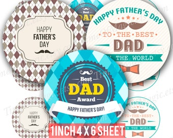 """Happy Father's Day Digital Collage Sheet 1"""" inch 25mm Bottlecap Printable Image Download for pendants  bottle cap stickers labels tags"""
