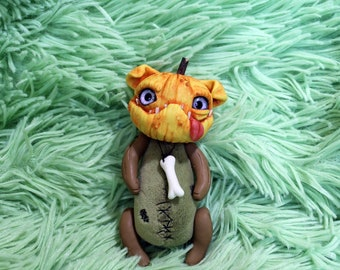 Halloween Pumpkin the Dog OOAK fantasy ART DOLL animal fantasy creature toy Collectible doll stuffed animals soft handmade art toy gift