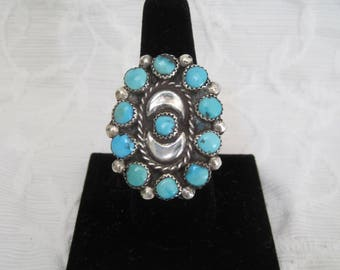 Huge Old Pawn Turquoise Cluster Ring Navajo Unisex Native American Outstanding
