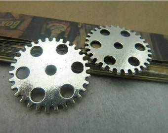 10 pcs 25mm  Antique Silver gears wheels  gearwheels Watch movements connectors links Charms Pendants
