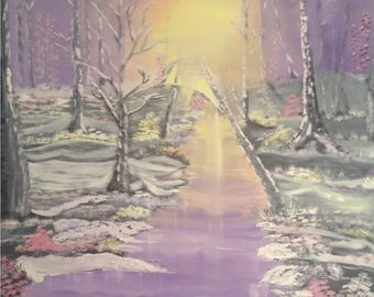 Warm Winter Beauty - Oil Painting 48 x 48 inches canvas (Nature, Landscape)