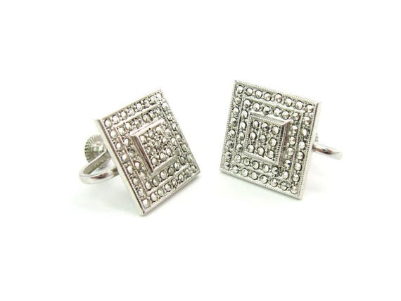 Vintage Sterling SIlver Art Deco Style Square Marcasite Earrings | Stepped Screw Backs