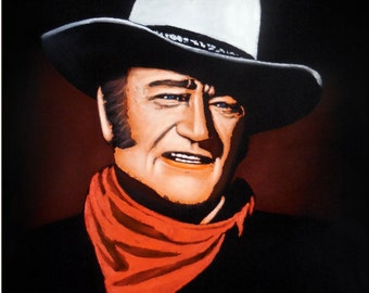 "JOHN WAYNE - The Duke - Red Scarf Oil Painting in Black Velvet 19x23"" by Zalas"
