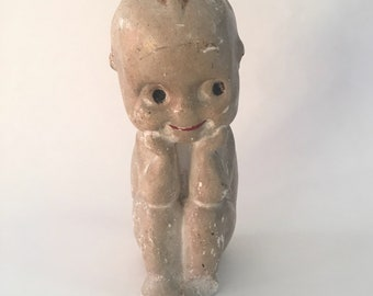 Antique Vintage Carnival Chalkware Sitting Kewpie Doll