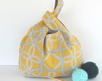 Knitting bag, Knitting on the go Wristlet Japanese Knot handbag, knitters gift bag, Large WIP project bag, yellow and grey Celtic pattern