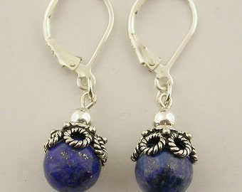 Genuine lapis lever back sterling silver earrings 34