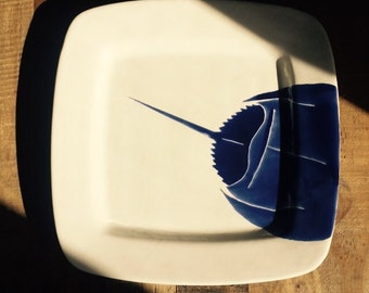 Sold horseshoe crab, Blue horseshoe crab square ceramic serving platter