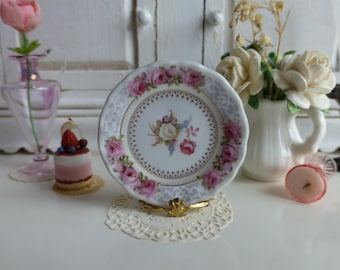 Antique Pink Roses Dollhouse Plate