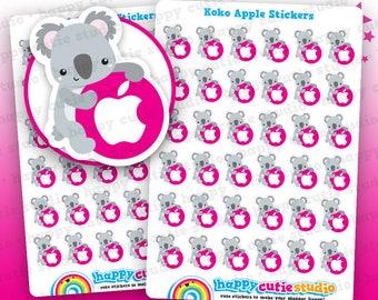 36 Cute Koko the Koala Apple/ApplePay/iTunes Planner Stickers, Filofax, Erin Condren, Happy Planner, Kawaii, Cute Sticker, UK