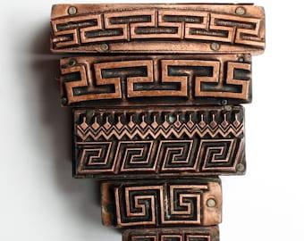 ZIG ZAG Border Group of Five 1903-1953 Antique GERMAN Copper Letterpress Cut printing block Greek Pattern