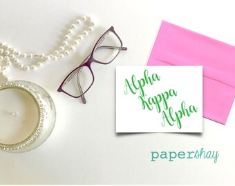 Personalisierte Grußkarten, Griechisch, Alpha Kappa Alpha, personalisierte Schreibwaren, personalisierte stationär, Monogramm Briefpapier, Monogramm notecard