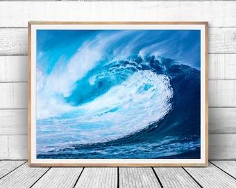 Ocean wave print, ocean photography, surf wave photo, nautical art print, tropical photography, sea print, surfing print, instant download