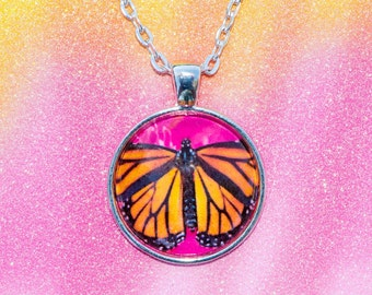 Pink Monarch Butterfly Glass Cabachon Pendant Nature Photography