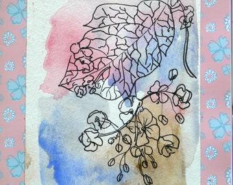 Original Art, Watercolor Flowers, card greeting card, botanical watercolor, original art, watercolor flowers, hydrangeas, handmade