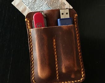 Swiss army style pocket sdmicro sd card holder w custom edc leather case for business card wallet usb flash drive and swiss army knife colourmoves Gallery