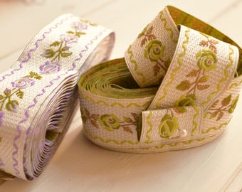 Light background ribbons for decorations, DIY, handmade, sewing and fiber arts. Available in two colors, purple flowers, green flowers.