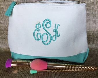 Monogram cosmetic bag - personalized gifts makeup bag - monogrammed canvas pouch - travel makeup bag - gift for her - travel gift