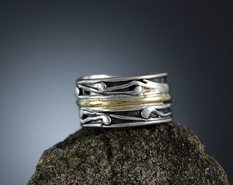 Silver and Gold Band Ring, Vine Band, Sterling and 14K Gold Ring, Vine Ring, Silver and Gold, Stacked Ring, Stacking Bands, Sherry Tinsman