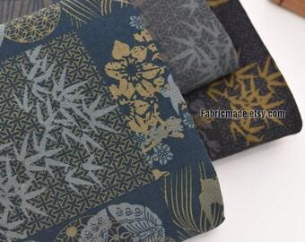Vintage Kimono Style Cotton Fabric, Bamboo Swallow On Black Navy Blue Grey Cotton- 1/2 Yard