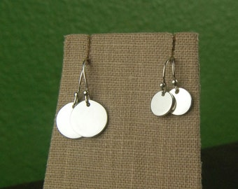Small or large round drop earrings in sterling silver, round charm, silver coin, circle earrings, silver disc earrings, simple, everyday