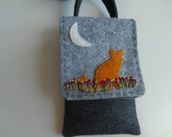 Handbag, Small Purse, Mini Bag, Small Handbag, Cross Body Bag, Embroidered Purse, Cat Purse
