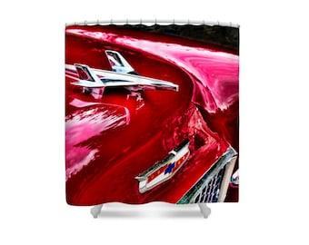 Car Shower Curtain, Car Bathroom Decor, Mens Shower Curtain, 1955 Chev, Gift for Dad, Chevrolet Car, Antique Cars, Retro Shower Curtain