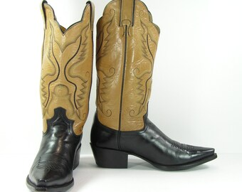 vintage justin cowboy boots women's 9 M B black and tan leather cowgirl usa