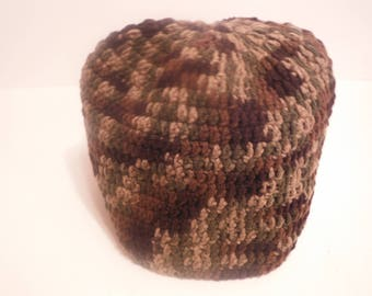 Extra Large Camouflage Crochet Beanie