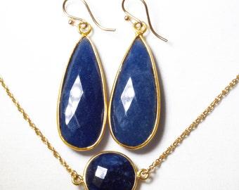Precious Sapphire 2-pc SET Necklace Earrings 14k Adjustable Genuine Sapphire Necklace September Birthstone BZ-SET-152.2-Sapph/g