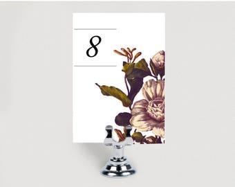CAMELIA Instant Printable Table Number,Table Number,garden Table Numbers,winter Wedding Table Cards,botanical Number Cards,burgundy vintage