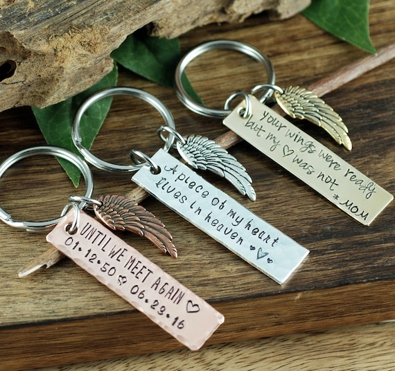 Memorial KeyChain, Sympathy Gift, Engraved Keychains,Remembrance Gift, Piece of my Heart KeyChain, Loss of Loved One, Your Wings were ready