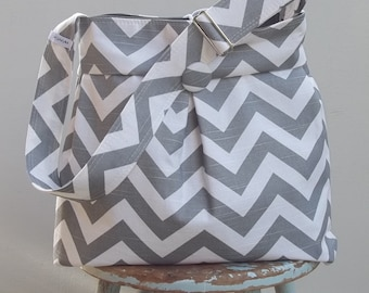 Grey Diaper Bag Chevron - 6 Pockets Adjustable Strap  Key Fob Reversible